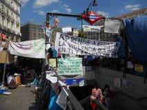 indignados Madrid zajmują zolu kwadrat Obrazy Stock