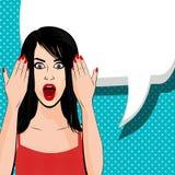 Indignant brunette girl red dress Stock Photo