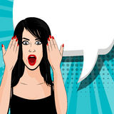 Indignant young brunette girl pop art Stock Photo