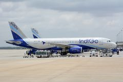 Indigo Airbus A320 Royalty Free Stock Photography