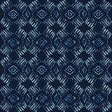 Indigo-Bindungs-Färbungs-Batik-nahtloses Vektor-Muster Handgezogenes Damast-Blau