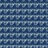 Indigo-Blau-Wellen-Muster-japanische Art-nahtloser Vektor Stilisiertes Wasser gewellt lizenzfreie abbildung