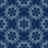 Indigo Blauw Bloemen Naadloos Vectorpatroon Hand Getrokken Japanse Stijl Shibori vector illustratie