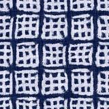Indigo blue batik dyed effect texture background. Seamless japanese repeat pattern swatch. Painterly block print motif