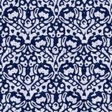 Indigo blue block print damask dyed texture background. Seamless woven japanese repeat batik pattern swatch. Wrinkled