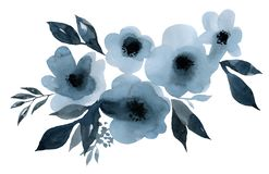 Indigo blue bouquet of flowers and leaves watercolor illustration stock illustration
