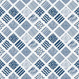 Indigo blue hand drawn seamless pattern Stock Photography