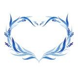 Indigo blue hand drawn wreath, vector illustration stock photos