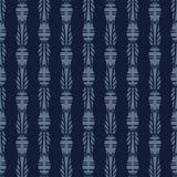 Indigo Blue Japanese Bamboo Seamless Vector Pattern. Hand Drawn