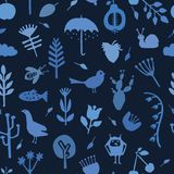 Indigo blue nature cut out shapes. Vector pattern seamless background. Hand paper cutting animals. Plants matisse style collage. Illustration. Trendy decor stock illustration