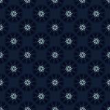 Indigo Blue Polka Dot Floral Seamless Vector Pattern. Drawn 1950s Style Flower llustration for Trendy Fashion Prints, Christmas Packaging, Dark Denim Blue vector illustration