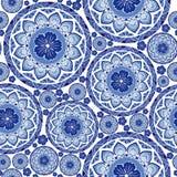 Indigo blue Porcelain chic boho mandala design from flower and betel leaf seamless pattern stock illustration