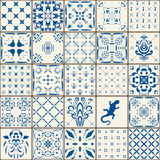 Indigo Blue Tiles Floor Ornament Collection. Gorgeous Seamless Patchwork Pattern from Colorful Traditional Painted Tin Glazed Cera. Mic Tilework Vintage Royalty Free Stock Photo