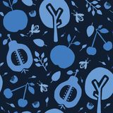 Indigo blue tree orchard. Seamless vector pattern background. Hand drawn tossed fruit paper cut out. Matisse style. Garden folk. Art all over print. Asian stock illustration