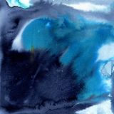 Indigo and bright blue watercolor background. Royalty Free Stock Photo