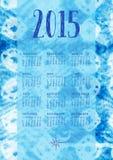 2015 Indigo Calendar. 2015 boho styled calendar with an indigo texture as background. Week starts on Sunday Royalty Free Stock Image