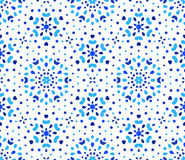 Indigo Dots Blue Flower Pattern. Blue Flower Pattern. Seamless Boho Background. Hexagon design element. Vector illustration for wallpaper print, linen fabric Royalty Free Stock Photo
