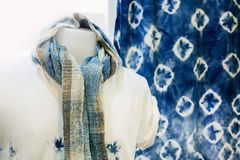 Indigo dye cotton is an organic compound with a distinctive blue color. Thailand royalty free stock images