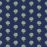 Kashmir blockprint pattern. Indigo dye woodblock printed seamless ethnic floral all over pattern. Traditional oriental ornament of India, flowers of Kashmir Stock Image