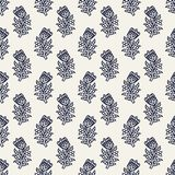 Kashmir blockprint pattern. Indigo dye woodblock printed seamless ethnic floral all over pattern. Traditional oriental ornament of India, tulip flowers of Stock Image