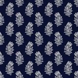 Kashmir blockprint pattern. Indigo dye woodblock printed seamless ethnic floral all over pattern. Traditional oriental ornament of India, tulip flowers of Stock Images