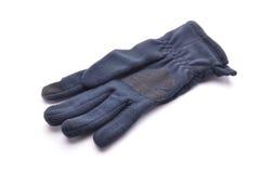 Indigo et gants bleus de laine blancs Photos stock