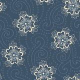 Indigo Hand-Drawn Japans Bloemen Vector Naadloos Patroon Traditionele de Stijlbloei van Katazome Katagami vector illustratie