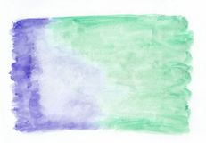 Indigo iris and mint jade mixed watercolor horizontal gradient background. It`s useful for greeting cards. Valentines, letters. Abstract art style handicraft Royalty Free Stock Image