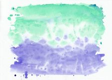Indigo iris and mint jade mixed watercolor horizontal gradient background. It`s useful for greeting cards, valentines, letter. S. Abstract art style handicraft vector illustration