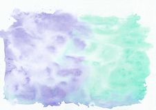 Indigo lavander and teal persian green mixed watercolor horizontal gradient background. It`s useful for greeting cards, valentines, letters. Abstract art style royalty free illustration