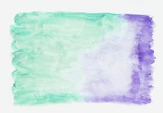 Indigo lavander and teal persian green mixed watercolor horizontal gradient background. It`s useful for greeting. Cards, valentines, letters. Abstract art style royalty free illustration