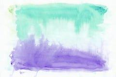 Indigo lavander und horizontaler Steigungshintergrund des Knickentenpersischen grünen Mischaquarells Es ` s nützlich für den Gruß Lizenzfreie Stockbilder