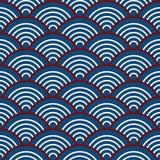Indigo-Marine-blaues Rot-traditionelle Wellen-japanischer Chinese Seigaiha-Muster-Hintergrund lizenzfreie abbildung