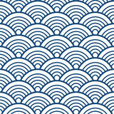 Indigo Navy Blue Traditional Wave Japanese Chinese Seigaiha Pattern Background