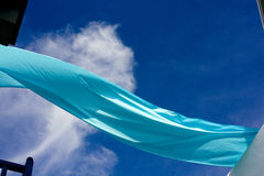Indigo Ribbon on Blue Sky Royalty Free Stock Image