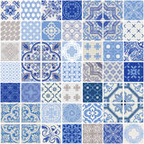 Indigo Seamless Patchwork Patterns Set. Indigo Seamless Patchwork Pattern - Monochrome Tiles Set - for wallpaper, design, background, texture, interiours - in Royalty Free Stock Images