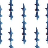 Indigo Spikes Seamless Pattern. Hand Drawn Seamless Pattern inspired by shibori textile Royalty Free Stock Photo