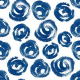 Indigo Spiral Seamless Pattern. Hand Drawn Seamless Pattern inspired by shibori textile Royalty Free Stock Photo