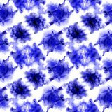 Indigo splashes pattern. Watercolor abstract seamless pattern. Background with scattered indigo splashes and stains. Hand painted juicy tile of loose royalty free stock photos