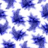 Indigo splashes pattern. Watercolor abstract seamless pattern. Background with scattered indigo splashes and stains. Hand painted. Superb tile of loose vector illustration