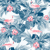 Indigo tropical summer seamless pattern with flamingo birds and exotic flowers Stock Photo