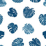 Indigo vector pattern with monstera palm leaves on dark background. Seamless summer tropical fabric design. Stock Photo