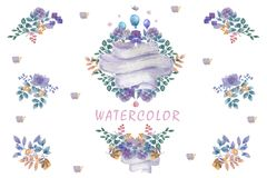 Indigo watercolor flowers bouquet, ready frames floral set painting leafs design flowers for wedding, celebration, party stock illustration