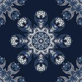 Indigoblå blå fjäder Mandala Seamless Vector Pattern tecknad hand royaltyfri illustrationer