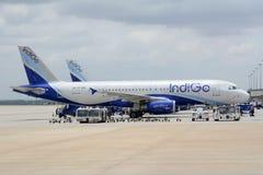 Indigoblå flygbuss A320 Royaltyfri Fotografi