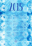 2015 indigoblå kalender Royaltyfri Bild