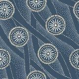 Indigoblått Hand-drog japanska cirklar och sömlös modell för vågvektor Traditionellt färgat Katazome Katagami abstrakt begrepp stock illustrationer