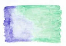 Indigoiris en horizontale de gradiëntachtergrond van de muntjade gemengde waterverf Het ` s nuttig voor groetkaarten Royalty-vrije Stock Afbeelding
