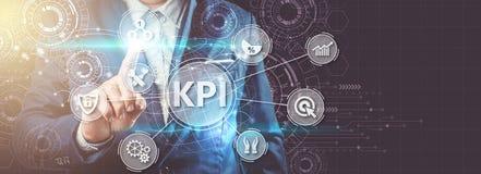 Indikator för nyckel- kapacitet KPI genom att använda affärsbakgrund med I arkivbild