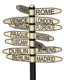 Indikator med bästa europeiska städer som ska besökas royaltyfri illustrationer